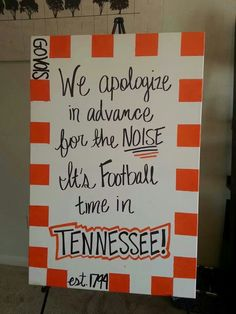It's Football Time in Tennessee . Go Vols! Tn Vols Football, Tennessee Volunteers Football, Titans Football, Football Crafts, Tennessee Football, College Football Teams, University Of Tennessee, Tennessee Titans, Football Season