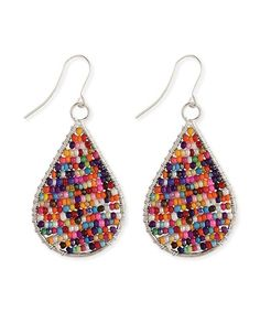 Enhance your ensemble with these splash-of-color earrings boasting teardrops inlaid with a rainbow of glass beads.