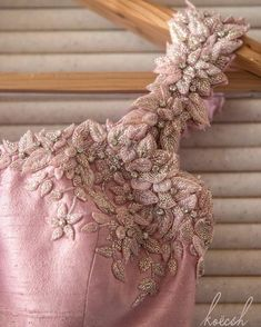 Beautiful blush pink blouse with flower details embellished with glass beads and crystals Couture Embroidery, Embroidery Fashion, Embroidery Dress, Floral Embroidery, Beaded Embroidery, Stylish Blouse Design, Fancy Blouse Designs, Bridal Blouse Designs, Blouse Neck Designs