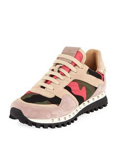 best service 431ac dc85a Valentino Garavani Rockstud Camo Trainer Sneaker Valentino Shoes, Valentino  Garavani, Suede Sneakers, Athleisure