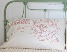 "Redwork pillow, Good Morning, by Ranger 911.  ""I purchased the redwork embroidery pattern online at Lace Tales Embroidery over a year ago and I did a lot of the stitching during long road trips."""