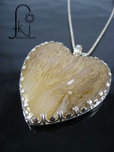 Heart Pendant, Sterling Silver Pendant with Heart Shape Tube Agate Cabochon, Handcrafted, Bezel Set by FKJewelryDesigns on Etsy