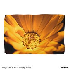 Orange and Yellow Daisy Kitchen Towel. #floral #kitchen #accessories #photograph #gifts