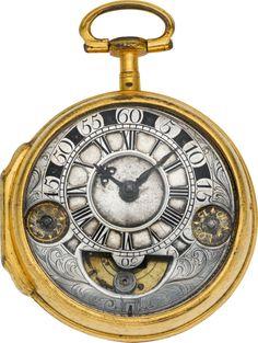 Timepieces:Pocket (pre 1900) , Verge Fusee With Unusual Exposed Mock Pendulum & RegulatorDiscs, circa 1680's. ... Image #1