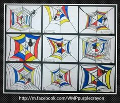 Mondrain inspired spiderwebs. Step by step they each drew their own web and spider. Then colored it using only primary colors. http://m.facebook.com/WMPpurplecrayon