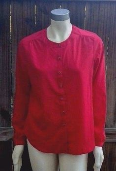 212 Collection Red Button Front Women's Shirt Sz Medium Career Casual Blouse Top…
