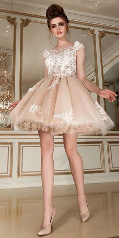 Romantic Tulle & Lace Scoop Neckline Short Ball Gown Wedding Dress With Lace Appliques & 3D Flowers