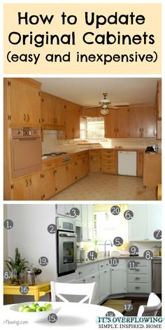 Interior Design How to Update Original Cabinets (Easy and Inexpensive) 10 Home Improvement Ideas Kitchen Redo, Kitchen Cabinets, Updating Cabinets, Bathroom Cabinets, Kitchen Ideas, Farmhouse Cabinets, Grey Cabinets, Kitchen Designs, Home Renovation