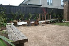 A natural playground to cater for kids and adults. A rustic stage becomes a daybed just by adding cushions.A fire pit soon to be added. Garden design by RPGD. Landscape Design Melbourne, Outdoor Ideas, Outdoor Decor, Natural Playground, Backyard, Patio, Fence Ideas, Daybed, Garden Design