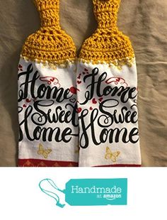Free shipping to USA included in price - 2 CROCHET KITCHEN hand TOWEL LIGHT to MEDIUM weight terry cloth - Home Sweet Home - Golden Yellow soft 100% acrylic yarn top - smoke free - pet free from PMSCRAFTS https://www.amazon.com/dp/B072KCB9RD/ref=hnd_sw_r_pi_dp_FsApzbD7GH44B #handmadeatamazon