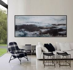 original abstract painting 72x30 large blue grey seascape