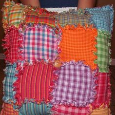 homespun patchwork quilted pillow craft project. I was looking for a good beginner pillow for my daughter and this is perfect.