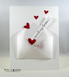 I made a vellum envelope using a PTI die and put some hearts cut from LF floating out of it.  The sentiment is from Clearly Besotted (10.6.17)