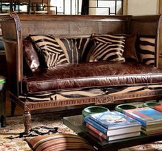 british colonial room, marvelous carved and cane settee with burnished leather and zebra cushions. 86 all the zebra and it'd be perfect West Indies Decor, West Indies Style, Home Interior, Interior Decorating, Design Interior, British Colonial Decor, European Decor, Home Fashion, Home Decor Accessories
