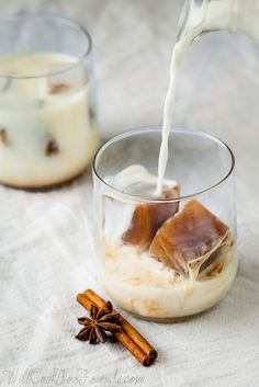 Chai Tea Ice Cubes - steep black tea with whole cloves, cinnamon stick, star anise with black tea
