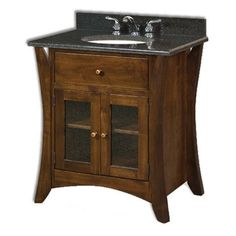 The Amish Caledonia Farmhouse Vanity features boldly curved shaker legs, flush doors and drawers and clean contemporary lines. The Caledonia Vanity will be a beautiful edition to any bathroom. the Caledonia …