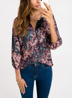 Comaba Womens Floral Tribal 3//4 Sleeve Comfort Tops Flare Tunic T-Shirt