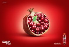non alcoholic drink - mix fruit juice creative advertising by hamed behnam, Sunich Mix Product Launch Campaign Mixed Fruit Juice, Mixed Drinks Alcohol, Fruits Photos, Jr Art, Creative Advertising, Non Alcoholic Drinks, Graphic Design Posters, Pomegranate, Simple Designs