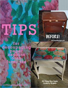 Tips for Decoupaging Paper Napkins Onto Furniture | Hometalk