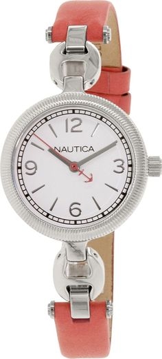 Nautica Men's NAD11506M Silver Leather Quartz Watch * To view further for this watch, visit the image link.