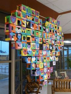 Group Art Projects, School Art Projects, Collaborative Art Projects For Kids, Paper Cube, Paper Art, Arte Elemental, Ecole Art, Math Art, Valentines Art