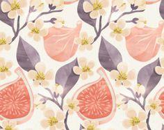 "Fig Floral Wall Mural, Floral Scene Wallpaper, Fruit Wallpaper - 100"" x 108"""