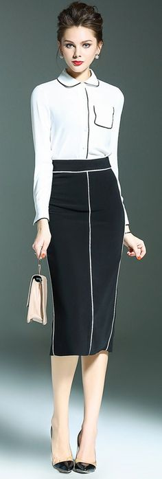 Black and white office, black and white skirt, business outfits, business a Business Casual Dresses, Business Outfits, Business Fashion, Black And White Two Piece, Black And White Skirt, Fashion Over 40, Work Fashion, Dress Outfits, Fashion Outfits