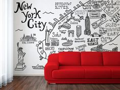 New York City Map Illustration Wall Decal by Claire Lordon:
