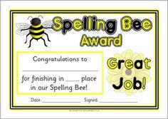 Spelling Bee award certificates (SB10421) - SparkleBox