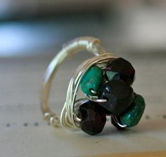 Garnet and Turquoise Wire Wrapped Ring by orangejuniper on Etsy, $35.00