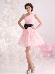 Glorious A-Line One Shoulder Knee Length Pink Chiffon Bridesmaid Dress E12086IS