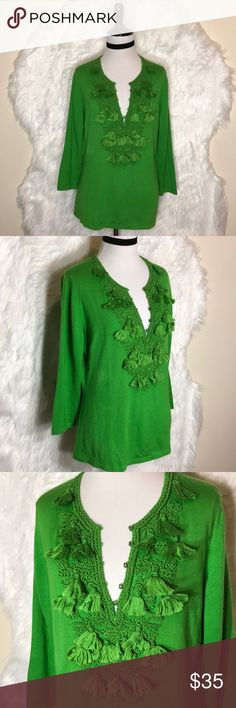 """Oscar De La Ranta Green Tassels Tunic Top Slip into a fresh look with this beautiful blouse that shows off your feminine allure. Tassels  and tunic neckline add visual intrigue to your look, while cashmere/silk fabric drapes easily over your frame. It has snags show in the last photo. Laid flat across @ bust: 20"""", length: 25"""". NWOat Oscar de la Renta Tops"""