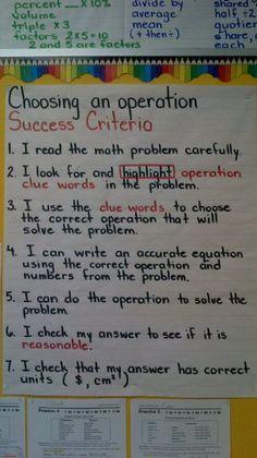 Word Problem Success Criteria