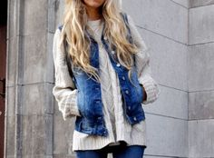 Cable knit Cardigan and a denim vest. I want to DIY a vest from a thrift jacket with sleeves that are too short!