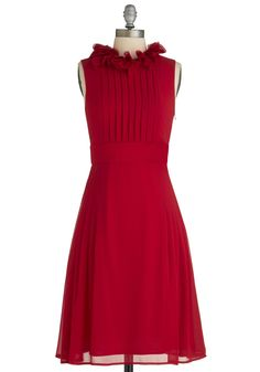 Fashion Show Hostess Dress - Long, Red, Solid, Pleats, Wedding, Party, A-line, Sleeveless, Fall, Ruffles, Cocktail, Holiday Party, Formal, Top Rated, Bridesmaid