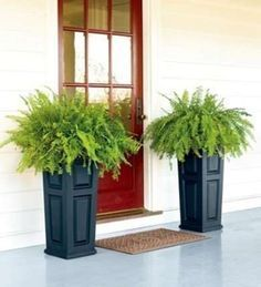 10 Easy Curb Appeal Updates. Use planters to add life to your porch. Mine are heavy fake white marble. I misted with aqua spray paint some silk green fern plants.