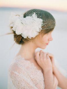 Bridal Birdcage Veil Silk flower