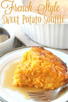 French style sweet potato soufflé is a fancified way of enjoying your sweet potatoes at the holidays. It's light, fluffy and delicious. Easy Thanksgiving Recipes, Thanksgiving Sides, Best Side Dishes, Side Dish Recipes, Grilling Recipes, Slow Cooker Recipes, Sweet Potato Souffle, Seasonal Food, Recipe For Mom