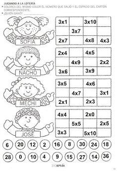 ACTIVIDADES FOTOCOPIABLES PARA NIVEL PRIMARIO: Multiplicación-Tablas. Math Games, Math Activities, Learning Multiplication, Multiplication Tables, Printable Math Worksheets, Math Class, Math For Kids, Elementary Math, Teaching Tools