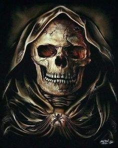 grim reaper skull from friont Jj Tattoos, Skull Tattoos, Biker Tattoos, Grim Reaper Art, Don't Fear The Reaper, Memento Mori, Art Harley Davidson, Reaper Tattoo, Totenkopf Tattoos