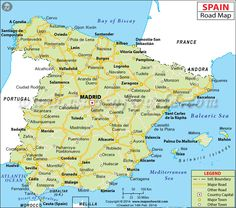 Spain road map showing the major roads, driving directions and national highways network spreaded across Spain with adjoining cities. Map Of Spain, Spain And Portugal, Pamplona, Geography Of Spain, Europe Must See, Andalucia Spain, Travel Maps, Seville, Spain Travel