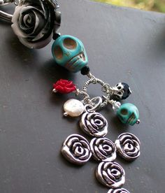 Sugar Skull Day of the Dead Pendant by VivaGailBeads on Etsy, $19.25