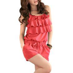 cb310648916b Allegra K Women's Ruffled Cinched Waist Romper Watermelon Red (Size M /