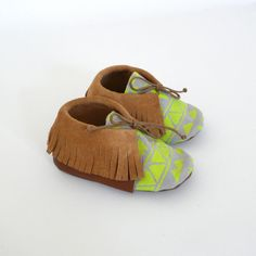 Baby+mocassins+S.21+15-18+months+yellow+/+light+grey+by+ANAAME