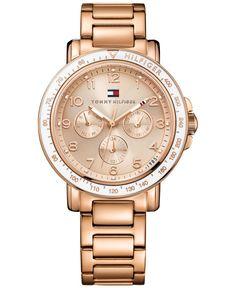 Tommy Hilfiger Women's Rose Gold-Tone Stainless Steel Bracelet Watch 40mm 1781513