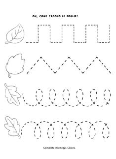 La maestra Linda : Le foglie in Autunno Preschool Writing, Fall Preschool, Homeschool Kindergarten, Preschool Learning Activities, Preschool Lessons, Autumn Activities, Preschool Classroom, Toddler Activities, Preschool Activities