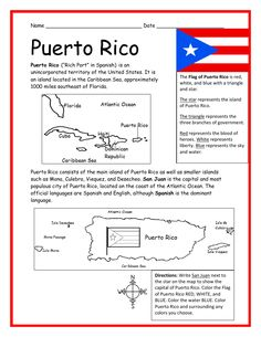 PUERTO RICO - Printable handout with map and flag by tspeelman Puerto Rico Map, Puerto Rico History, Ricos World, Spanish Teaching Resources, Puerto Rican Culture, World Thinking Day, Hispanic Heritage Month, Puerto Ricans, History Facts