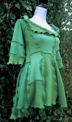 Handmade Upcycled Green Cashmere Sweater Tunic Dress - I bet Denise could make this