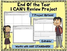 End of the Year I CAN or Standards Review Poster Project - 7 choices! EDITABLE! Vocabulary Activities, Science Resources, School Resources, Science Lessons, Teaching Science, Vocabulary Words, Science Activities, Teaching Resources, Science Ideas