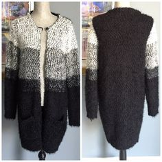 Max Edition Button Top Cardigan W/Pockets Ultra soft and comfy cardigan from Max Edition .  Black , grey & ivory colors .  Furry material both inside and out for added luxuriousness .  Has a top closure snap button .and front lower pockets .  Made of 46% polyester/32% acrylic/22% nylon . Max Edition Sweaters Cardigans